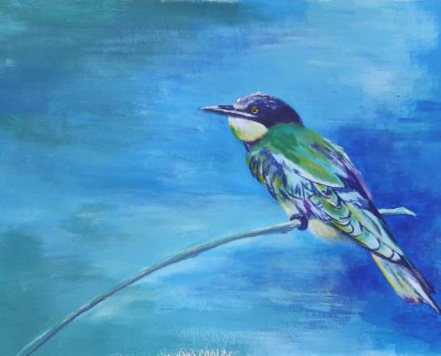 Oiseau à la peinture acrylique couleurs froides