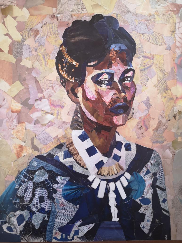 Portrait réalisé en collage de papiers de magazines par Delphine Lelorrain