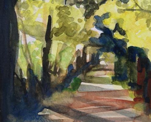paysage forêt aquarelle