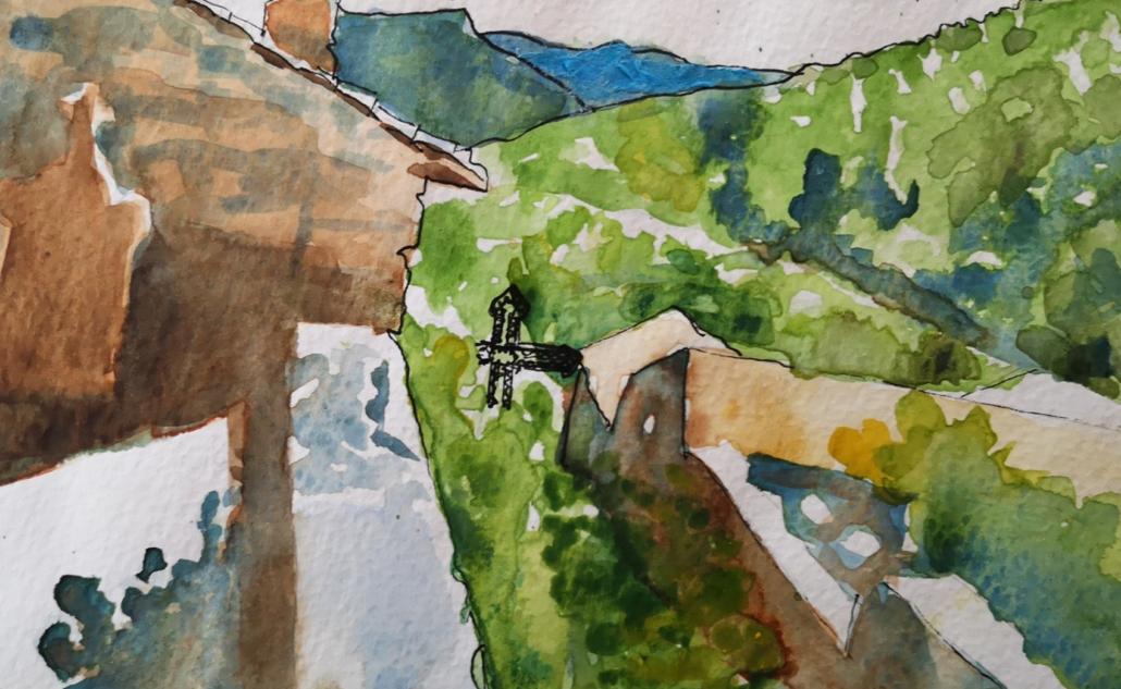 bullecréative-croquis-à-laquarelle-village-de-Thines-Delphine-Lelorrain