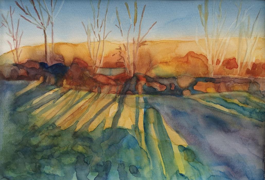 paysage aquarelle sur papier